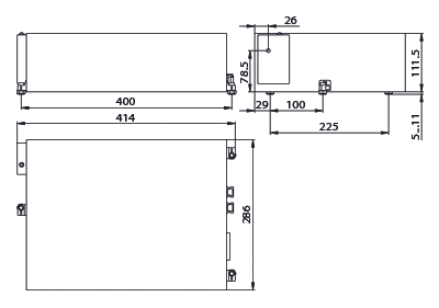 The PX110 laser head outline drawing