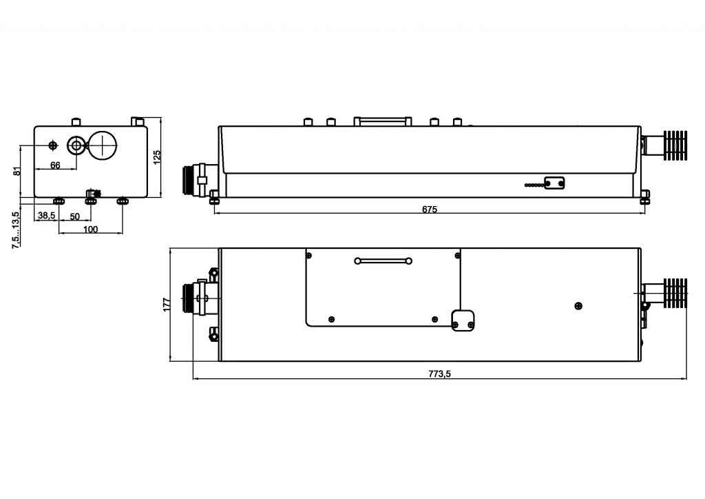 габаритные размеры излучателя LQ629 лазера