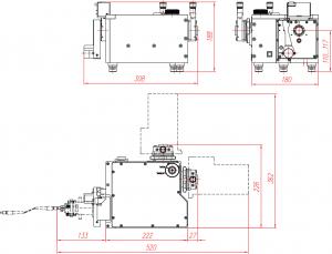 На выходные порты дифракционного спектрографа М150 могут быть установлены или две выходных щели, или одна выходная щель и детектор, или два детектора одновременн
