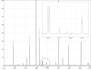 спектр излучения ртутной лампы, зарегистрированный с помощью спектрометра S100-3648 фильтр разделения порядков не установлен